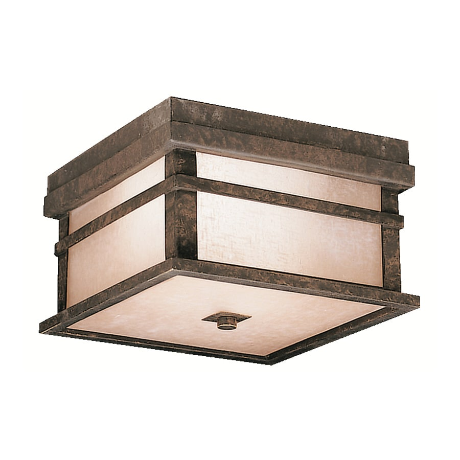 Kichler Cross Creek 9-in W Aged Bronze Outdoor Flush-Mount Light
