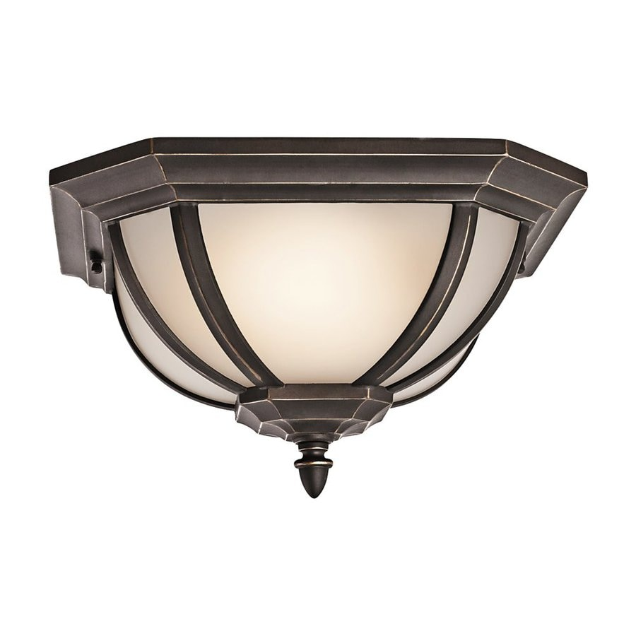 Kichler Salisbury 13.5-in W Rubbed Bronze Outdoor Flush-Mount Light