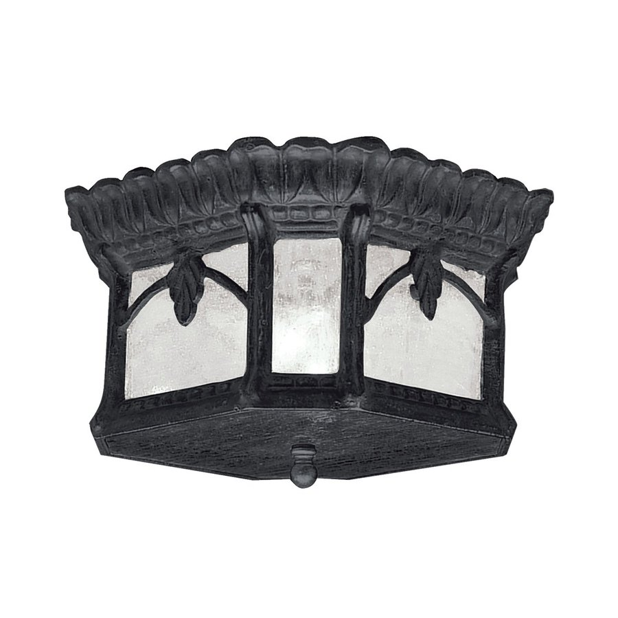 Kichler Tournai 12-in W Textured Black Outdoor Flush-Mount Light