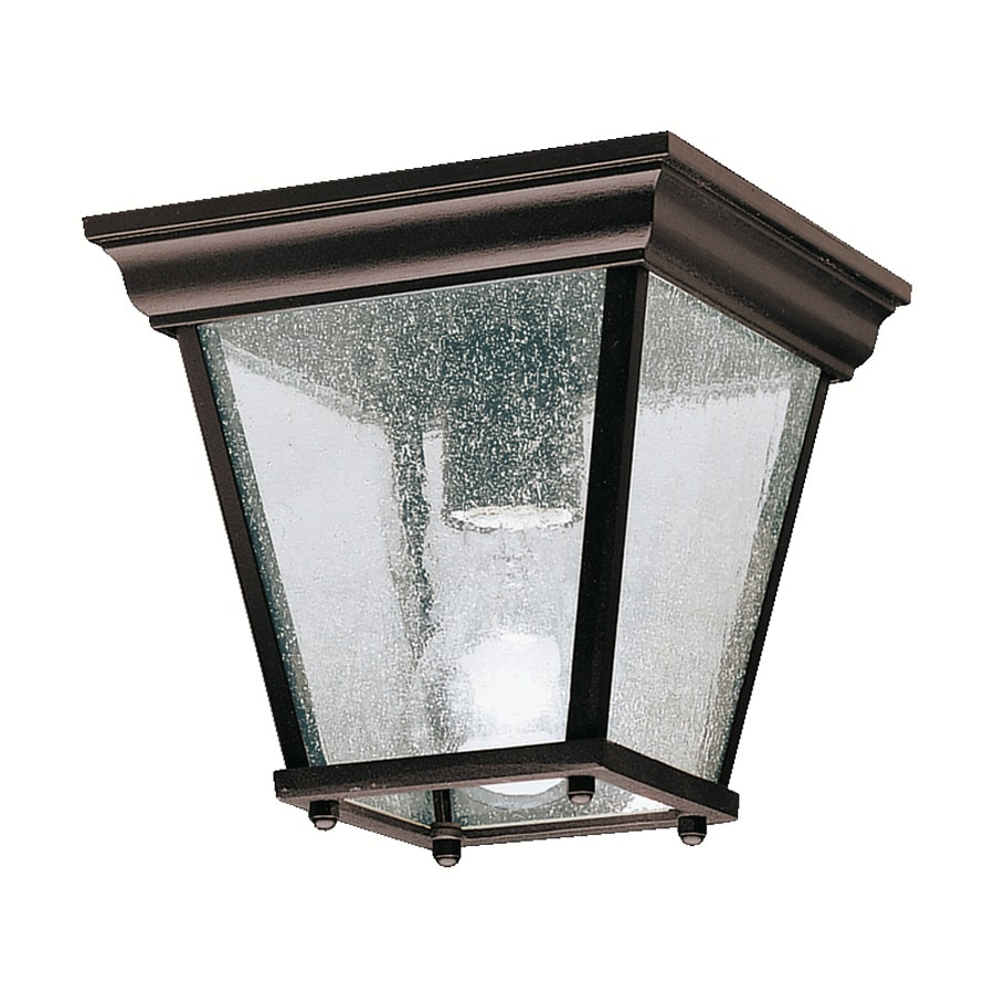 Kichler New Street 7.25-in W Black Outdoor Flush-Mount Light