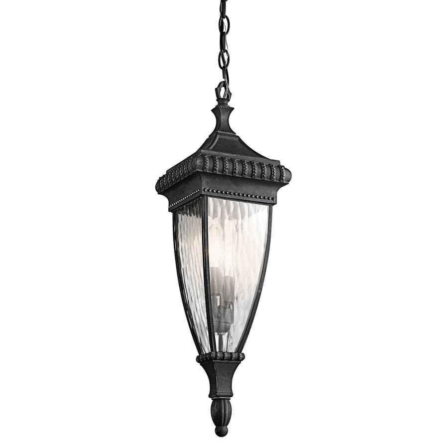 Kichler Lighting Venetian Rain 24.75-in Black with Gold Hardwired Outdoor Pendant Light