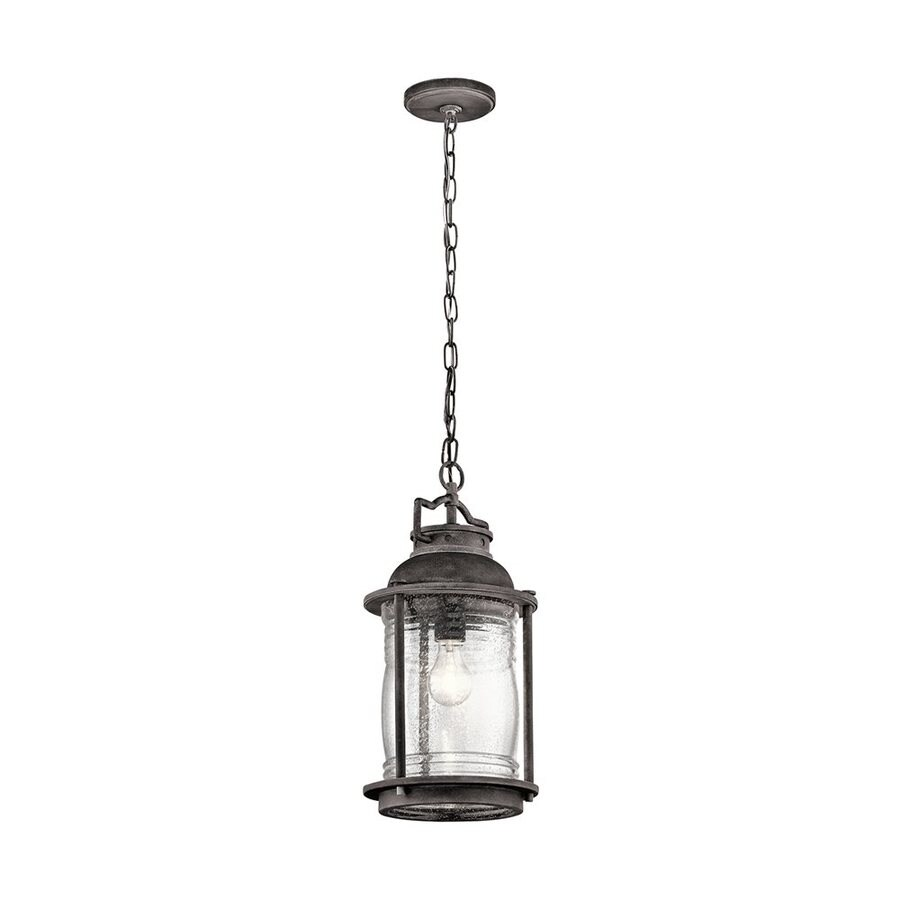 Kichler Ashland Bay 17.75-in Weathered Zinc Outdoor Pendant Light