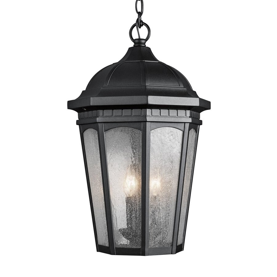 Kichler Lighting Courtyard 21.5-in Textured Black Outdoor Pendant Light