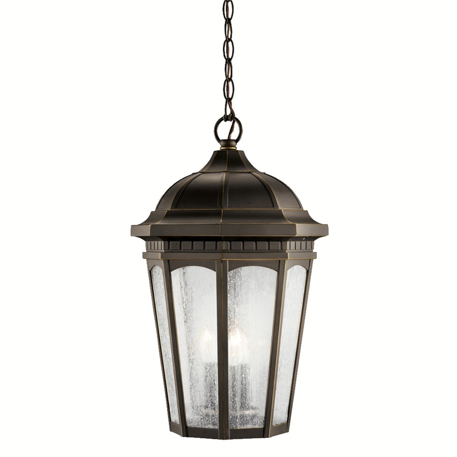 Shop kichler courtyard 21 5 in rubbed bronze outdoor Outdoor pendant lighting