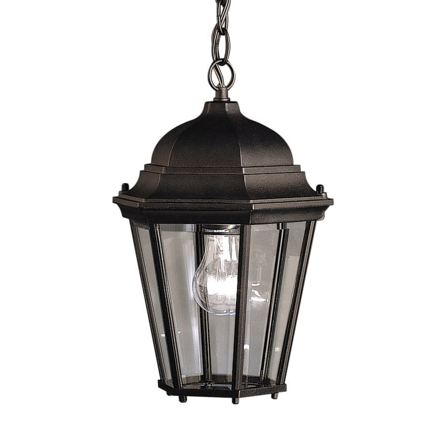 Shop kichler madison 13 5 in black outdoor pendant light for Hanging outdoor light fixtures