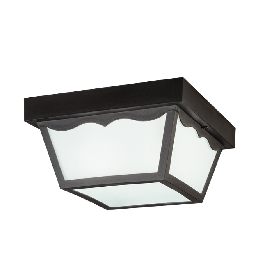 Kichler New Street 10.5-in W Black Outdoor Flush-Mount Light