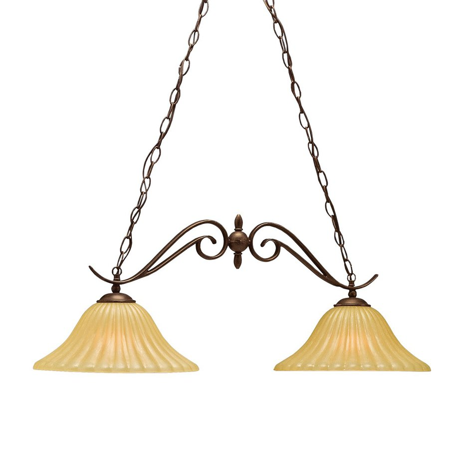 Kichler Willowmore 34-in W 2-Light Tannery Bronze  Kitchen Island Light with Tinted Shades