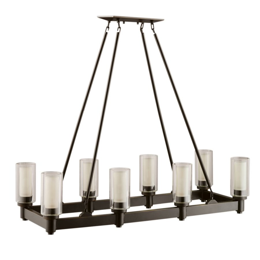 Kichler Lighting Circolo 36.25-in W 8-Light Olde Bronze  Kitchen Island Light with Tinted Shades