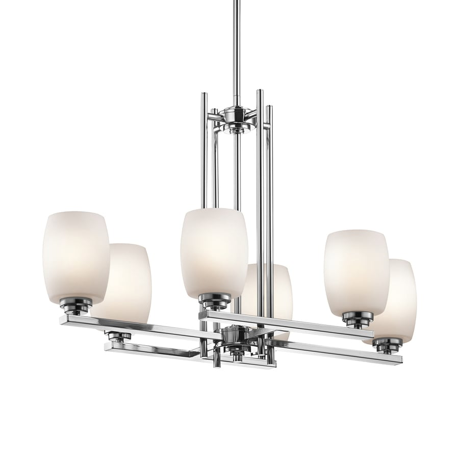 Kichler Lighting Eileen 30-in W 6-Light Chrome  Kitchen Island Light with White Shades