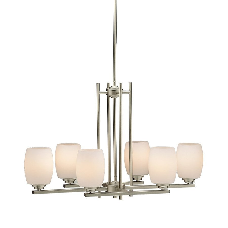 Kichler Eileen 30-in W 6-Light Brushed Nickel Kitchen Island Light with Tinted Shades