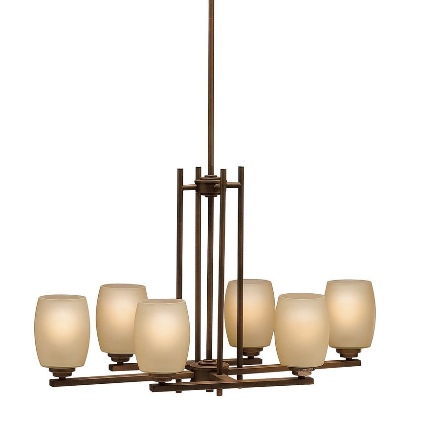 Kichler Eileen 30-in W 6-Light Olde Bronze Kitchen Island Light with Tinted Shades