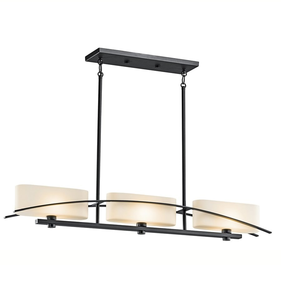 Kichler Lighting Suspension 41-in W 3-Light Black  Kitchen Island Light with Tinted Shades