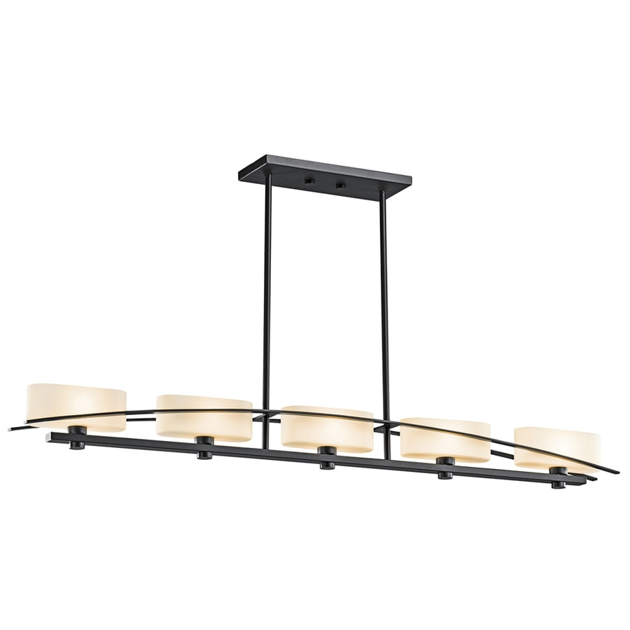 Kichler Lighting Suspension 50.75-in W 5-Light Black  Kitchen Island Light with Tinted Shades