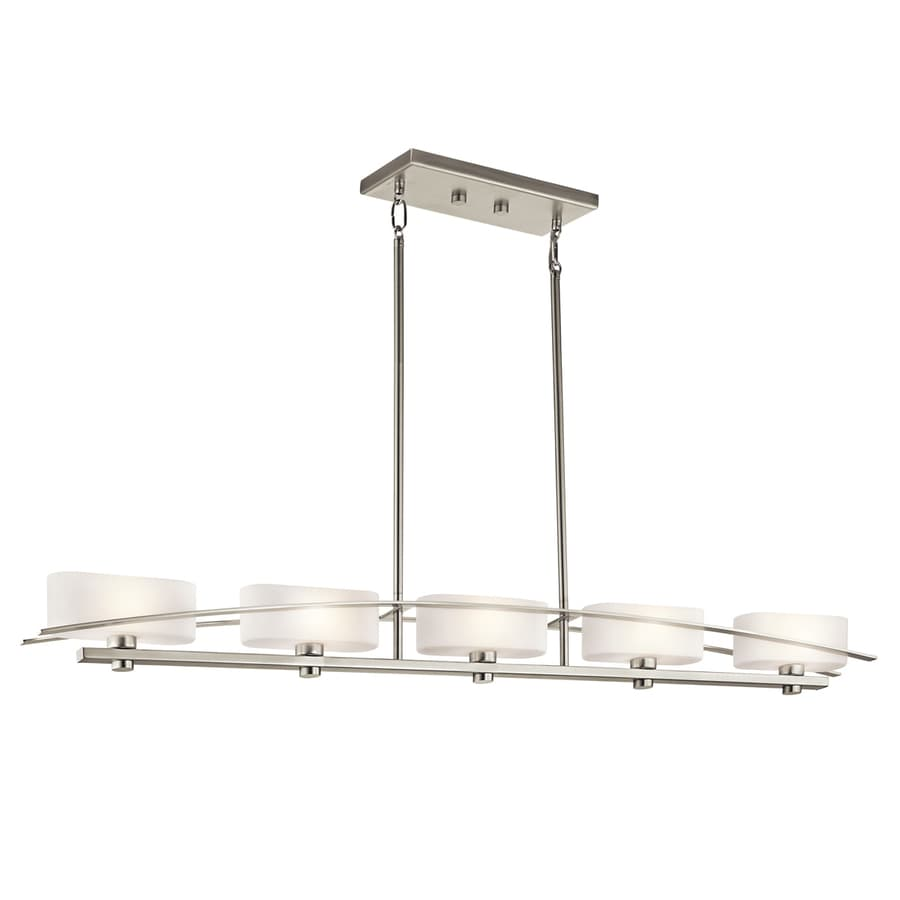 Kichler Lighting Suspension 50.75-in W 5-Light Brushed Nickel  Kitchen Island Light with White Shades