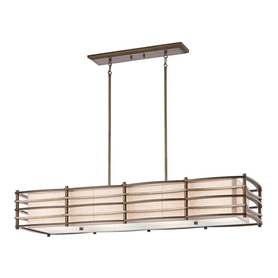 Kichler Lighting Moxie 48-in W 4-Light Cambridge Bronze  Kitchen Island Light with Fabric Shade