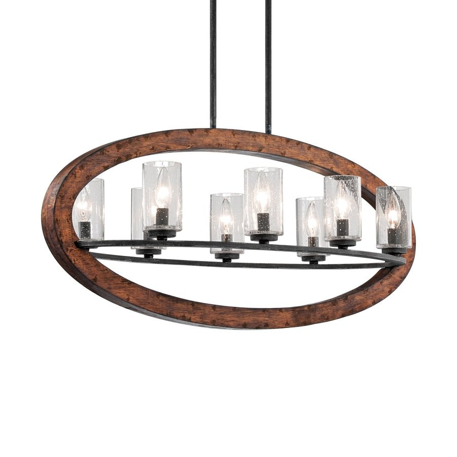 Kichler Grand Bank 36-in W 8-Light Auburn/Distressed Black  Kitchen Island Light with Clear Shades