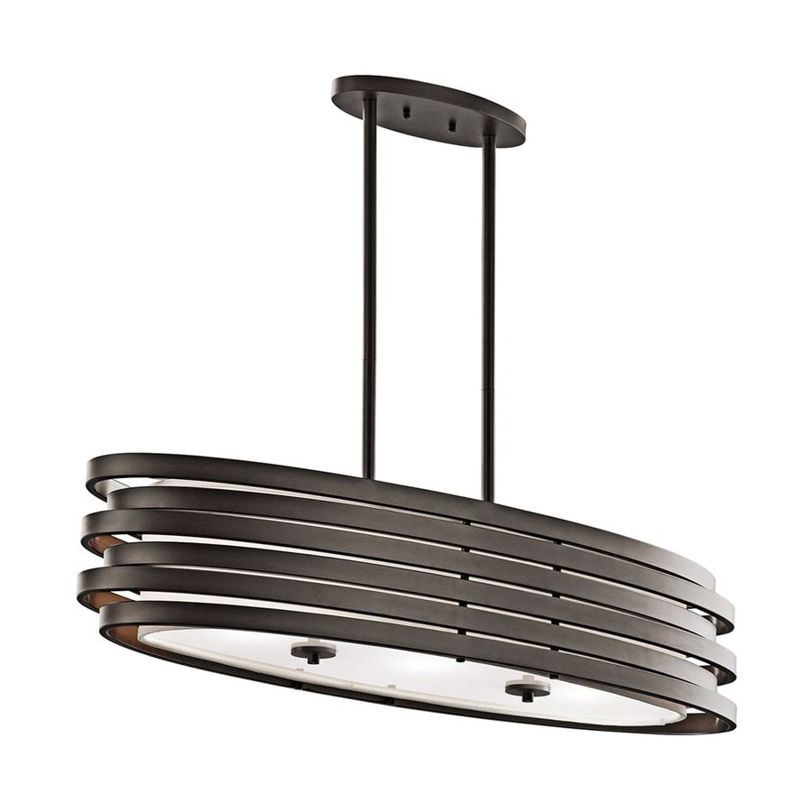 Kichler Roswell 37.25-in W 3-Light Olde Bronze  Kitchen Island Light with White Shade