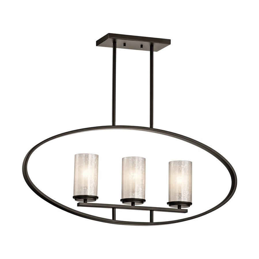 Kichler Berra 34-in W 3-Light Olde Bronze Kitchen Island Light with Tinted Shades