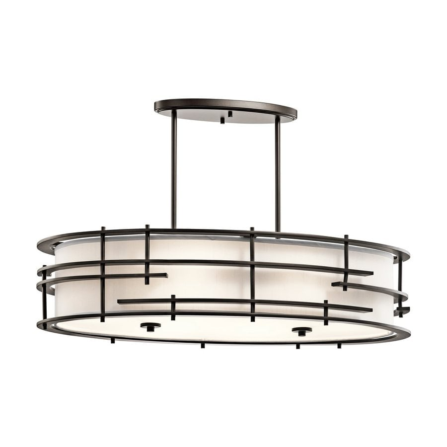 Kichler Lighting Tremba 36-in W 6-Light Olde Bronze  Kitchen Island Light with Fabric Shade