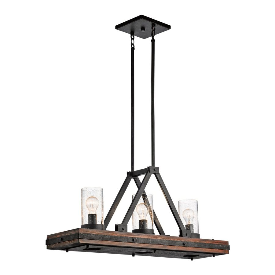 Kichler Lighting Colerne 35.75-in W 3-Light Auburn/Distressed Black Kitchen Island Light with Clear Shade