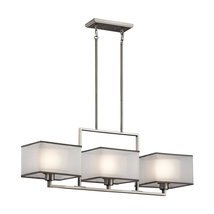 Kichler Kailey 36-in W 3-Light Brushed Nickel Kitchen Island Light with Fabric Shades