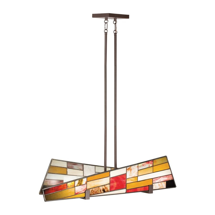 Kichler Lighting Shindy 36 In W 4 Light Olde Bronze Stained Gl Kitchen Island With Tinted Shade