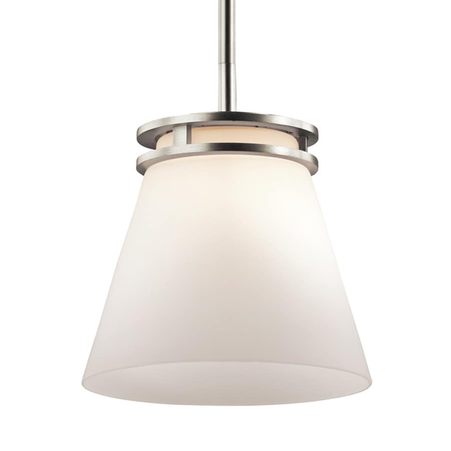 Kichler Hendrik 8-in Brushed Nickel Hardwired Mini Etched Glass Cone Pendant