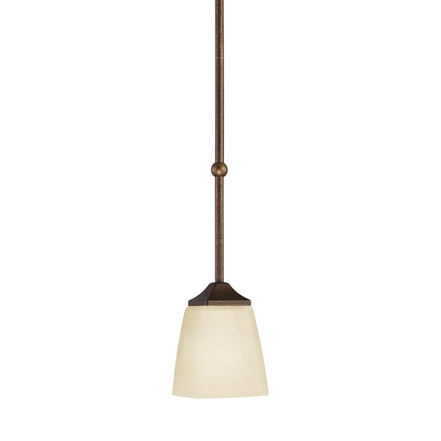 Kichler Lighting Souldern 6-in Marbled Bronze Vintage Hardwired Mini Etched Glass Cone Pendant