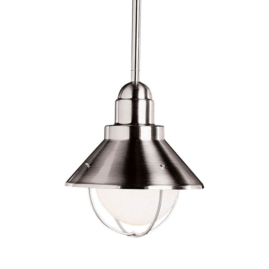 Kichler Family Spaces/Seaside 8-in Brushed Nickel Industrial Hardwired Mini Warehouse Pendant