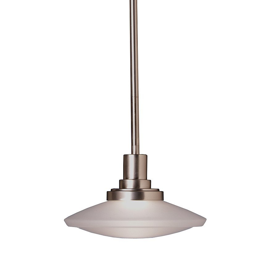 Kichler Structures 9-in Brushed Nickel Industrial Hardwired Mini Etched Glass Warehouse Pendant