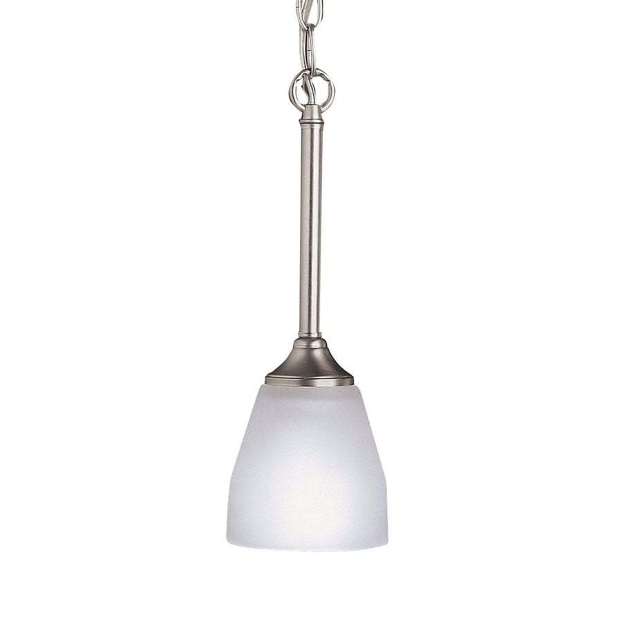 Kichler Lighting Ansonia 4.75-in Brushed Nickel Hardwired Mini Etched Glass Cone Pendant
