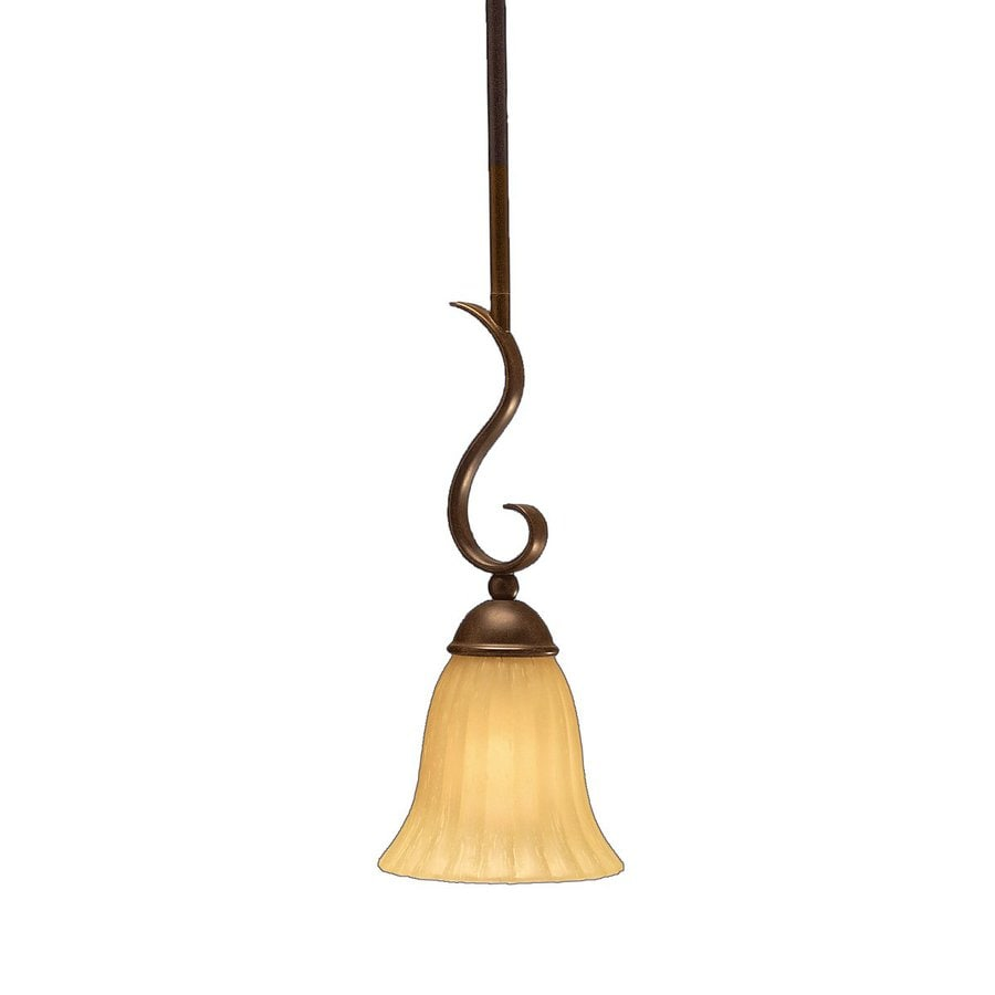 Kichler Willowmore 6.25-in Tannery Bronze Country Cottage Hardwired Mini Etched Glass Bell Pendant