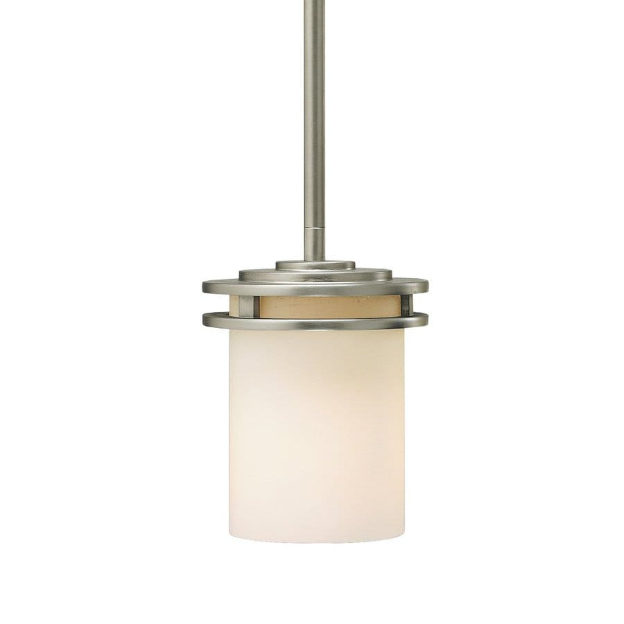 Kichler Lighting Hendrik 5.25-in Brushed Nickel Industrial Hardwired Mini Etched Glass Cylinder Pendant