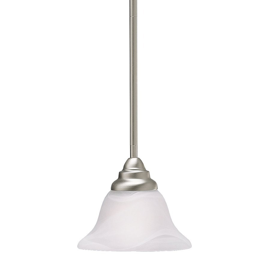 Kichler Telford 7.25-in Brushed Nickel Hardwired Mini Alabaster Glass Bell Pendant