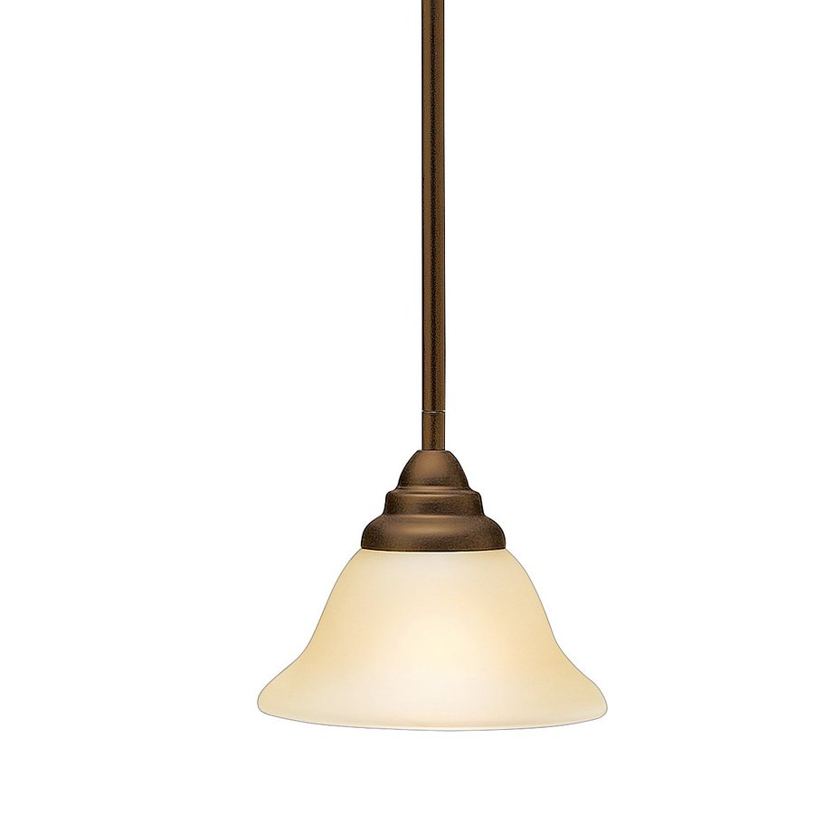 Kichler Telford 7.25-in Olde Bronze Hardwired Mini Etched Glass Bell Pendant