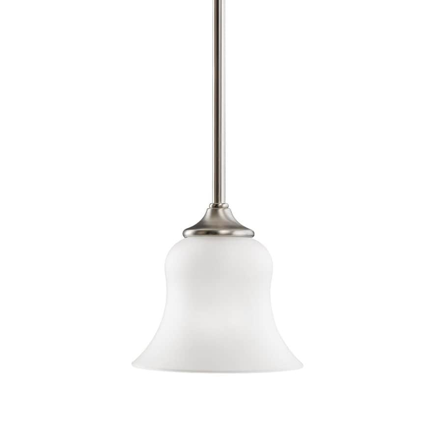 Kichler Wedgeport 6.5-in Brushed Nickel Country Cottage Hardwired Mini Etched Glass Bell Pendant