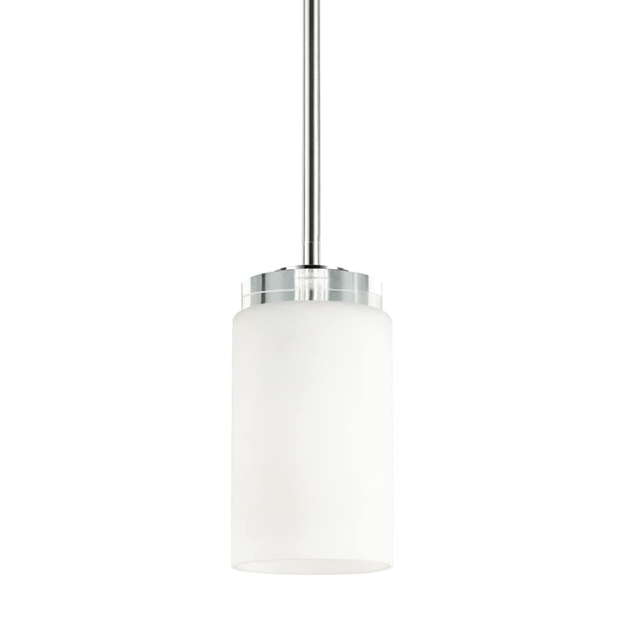 Kichler Lighting Reynes 4-in Chrome Industrial Hardwired Mini Etched Glass Cylinder Pendant