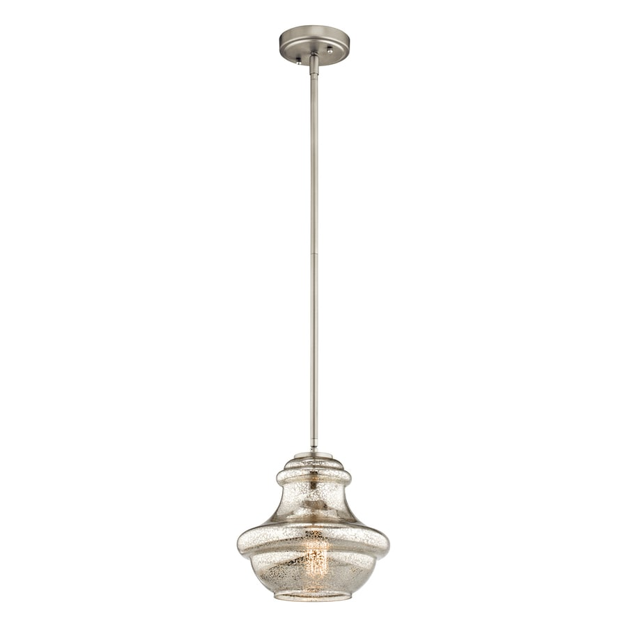 Kichler Everly 9.5-in Brushed Nickel Vintage Hardwired Mini Mercury Glass Schoolhouse Pendant