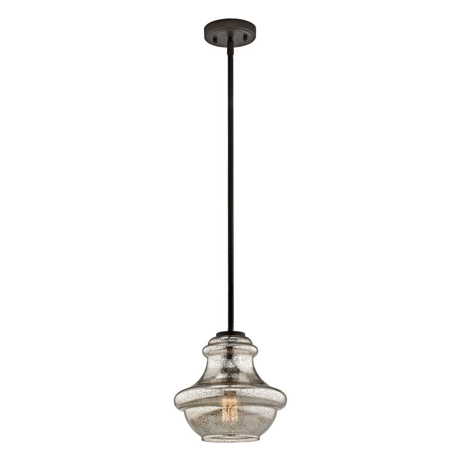 Kichler Lighting Everly 9.5-in Olde Bronze Vintage Hardwired Mini Mercury Glass Schoolhouse Pendant