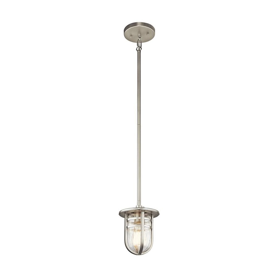 Kichler Lighting Caparros 6-in Brushed Nickel Industrial Hardwired Mini Ribbed Glass Warehouse Pendant
