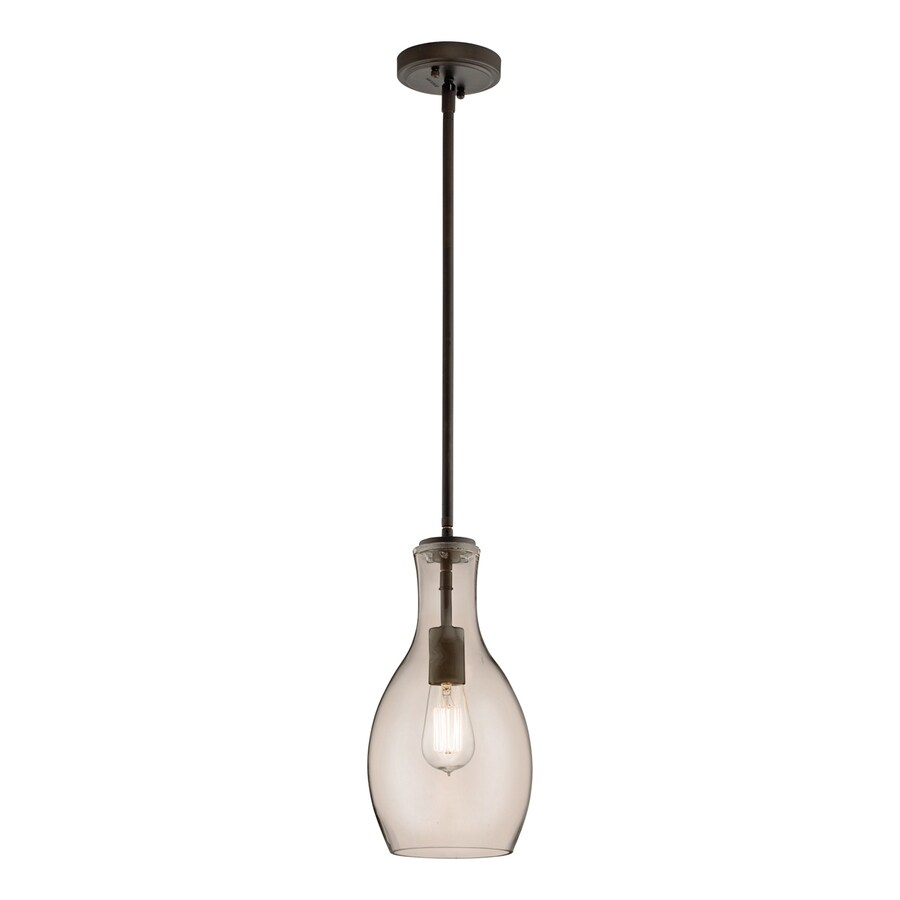 Kichler Everly 7-in Olde Bronze Industrial Hardwired Mini Tinted Glass Teardrop Pendant