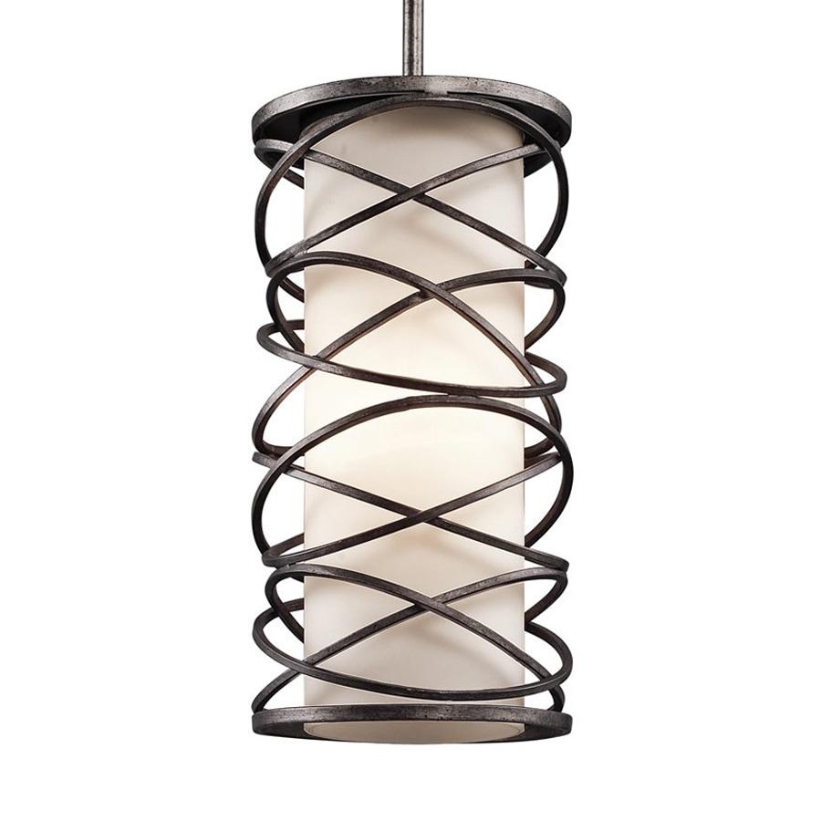 Kichler Lighting Krasi 7.75-in Warm Bronze Craftsman Hardwired Mini Etched Glass Cage Pendant