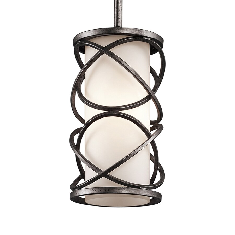 Kichler Krasi 5.5-in Warm Bronze Craftsman Mini Etched Glass Cage Pendant