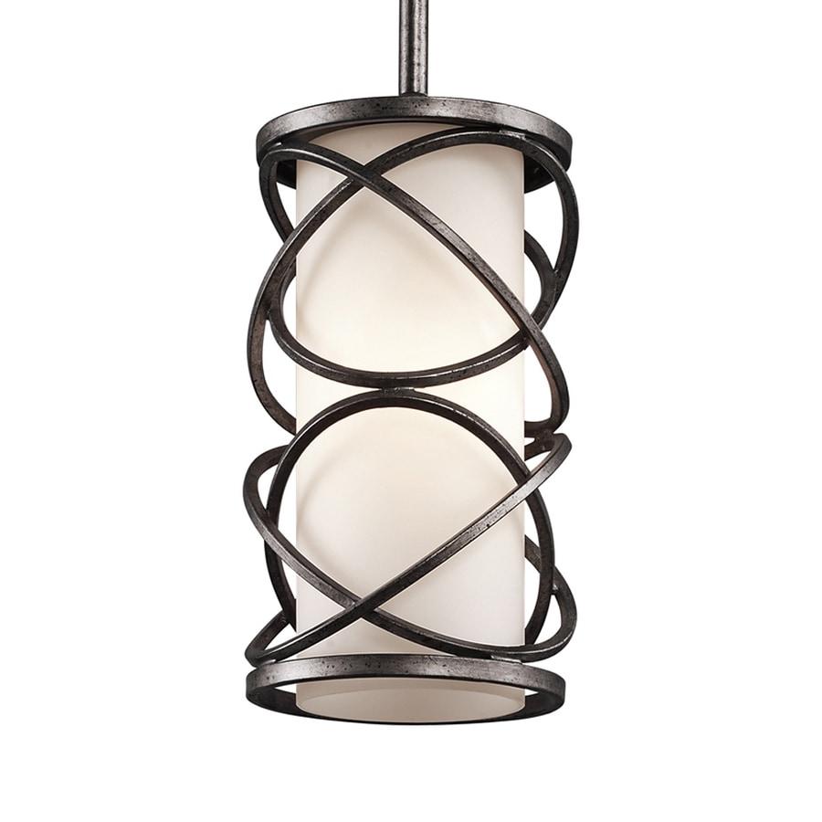 Kichler Krasi 5.5-in Warm Bronze Craftsman Hardwired Mini Etched Glass Cage Pendant