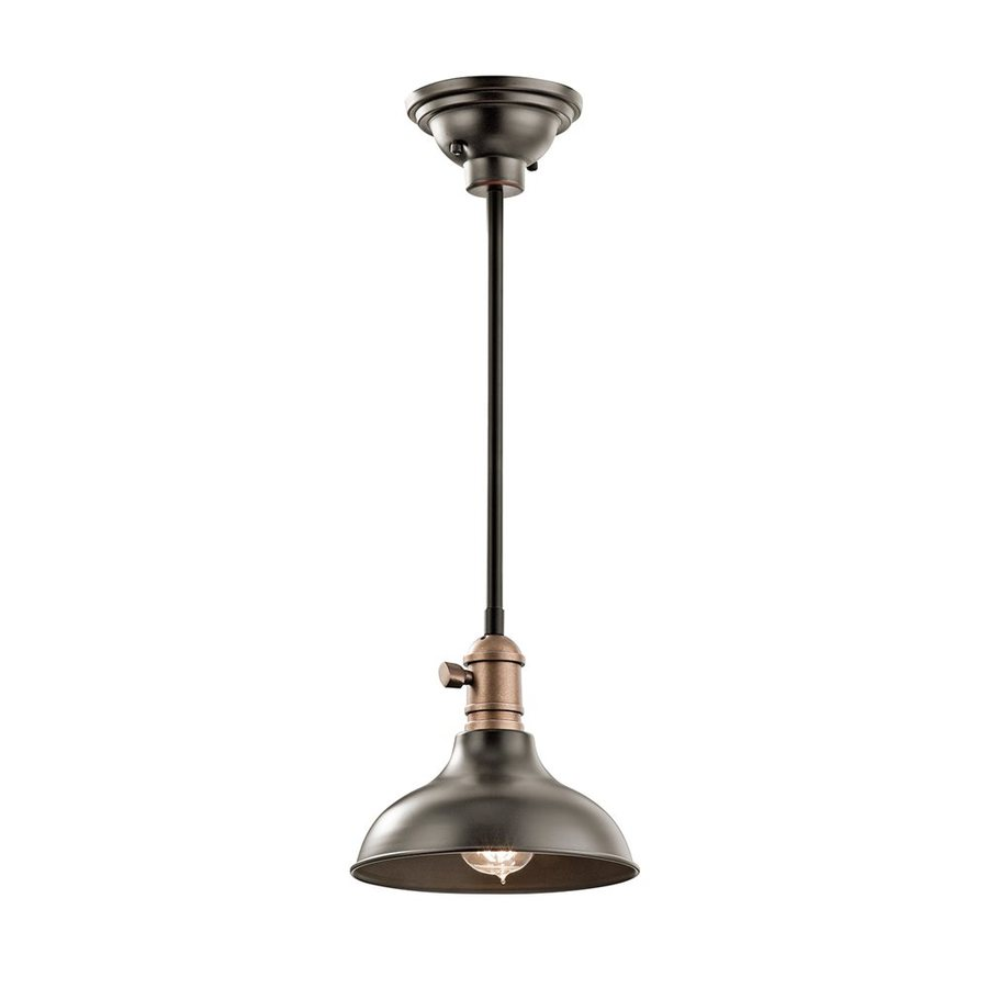 Kichler Cobson 8-in Olde Bronze Industrial Hardwired Mini Warehouse Pendant