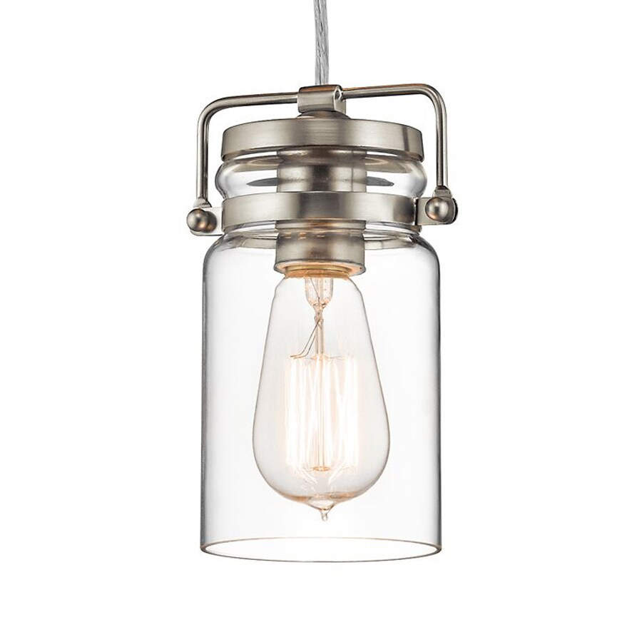 Kichler Brinley 4.75-in Brushed Nickel Industrial Hardwired Mini Clear Glass Jar Pendant