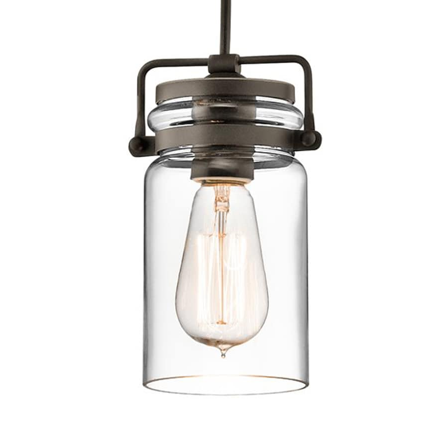 Kichler Lighting Brinley 4.75-in Olde Bronze Industrial Hardwired Mini Clear Glass Jar Pendant