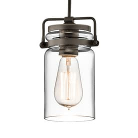 Shop pendant lighting at lowes kichler brinley 475 in olde bronze industrial hardwired mini clear glass jar pendant aloadofball Gallery