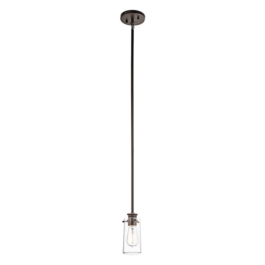 Kichler Lighting Braelyn 3.75-in Olde Bronze Industrial Hardwired Mini Clear Glass Jar Pendant
