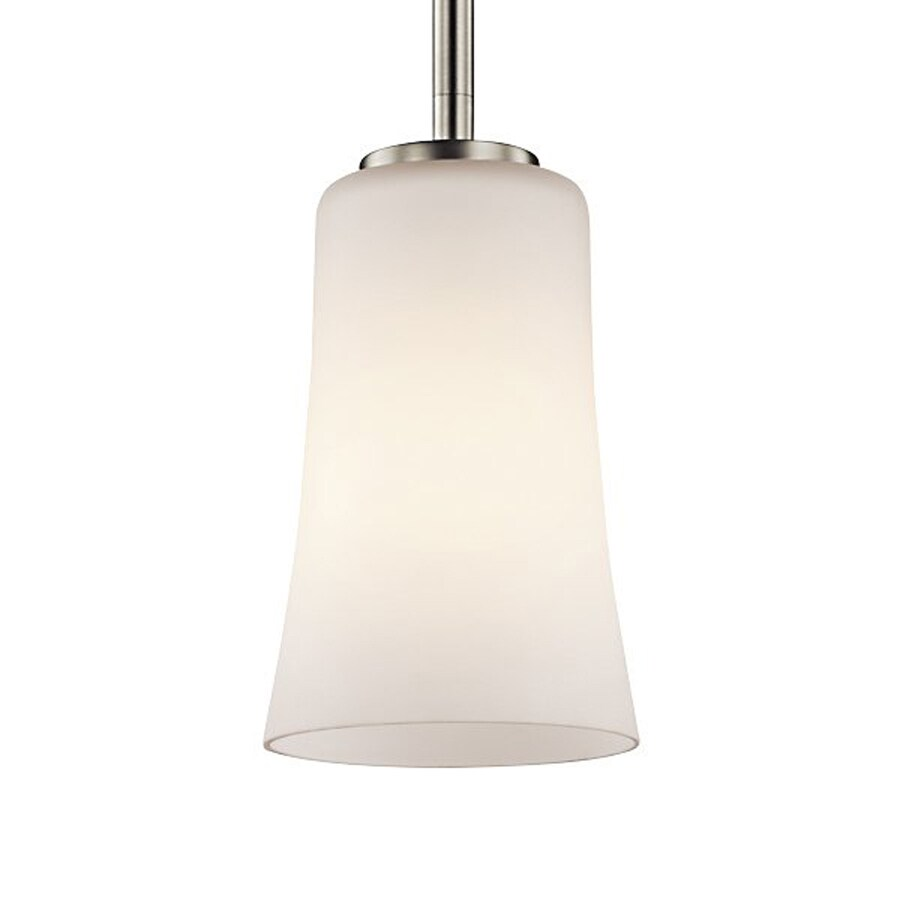 Kichler Armida 4.75-in Brushed Nickel Hardwired Mini Etched Glass Bell Pendant